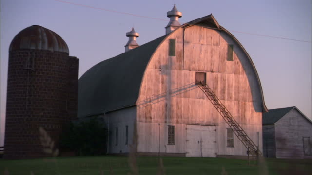 Multiple zoom-out-A ladder extends to the upper part of a barn. / Fresno, California, USA