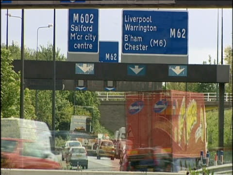 multiple-exposure effect of busy motorway junction - road sign stock videos & royalty-free footage