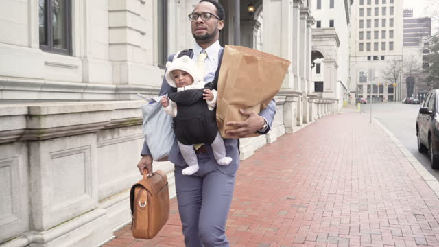 multi-tasking father commuting - multi tasking stock videos & royalty-free footage