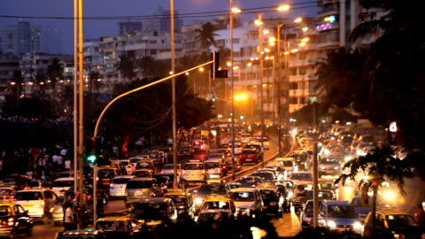 mumbai india marine drive city skyline travel  - cityscape stock videos & royalty-free footage