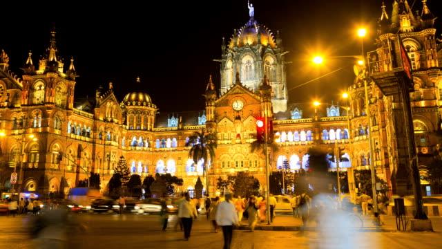 mumbai india time lapse chhatrapati shivaji terminus  - mumbai stock videos & royalty-free footage