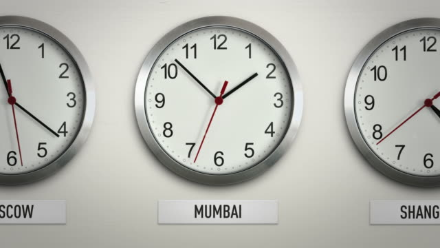 Mumbai international time zone wall clock with 12 hour loop