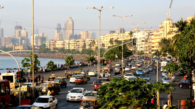 Mumbai Marine drive city skyline road transport India