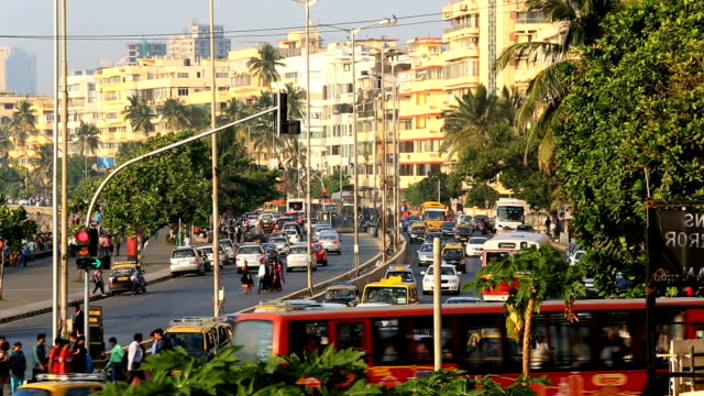 mumbai marine drive city skyline road transport travel - traffic light stock videos & royalty-free footage