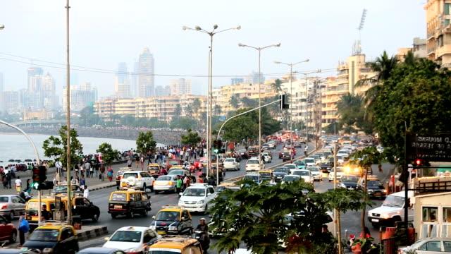 Mumbai Marine drive city skyline travel traffic