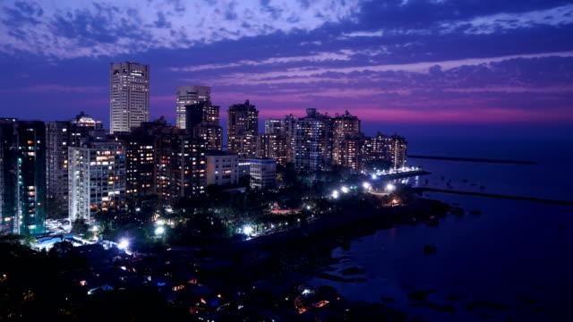 mumbai skyline time lapse - skyscraper stock videos & royalty-free footage