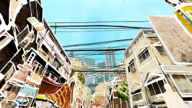 mumbai street. animation. - mumbai stock videos & royalty-free footage