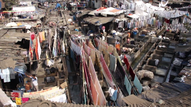 mumbai's laundry slum, dhobi ghat, mumbai, maharashtra, india - slum stock videos & royalty-free footage