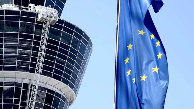 Munich Airport Tower with European Flag