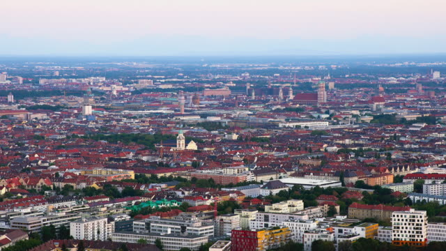 Munich city center view from high above.