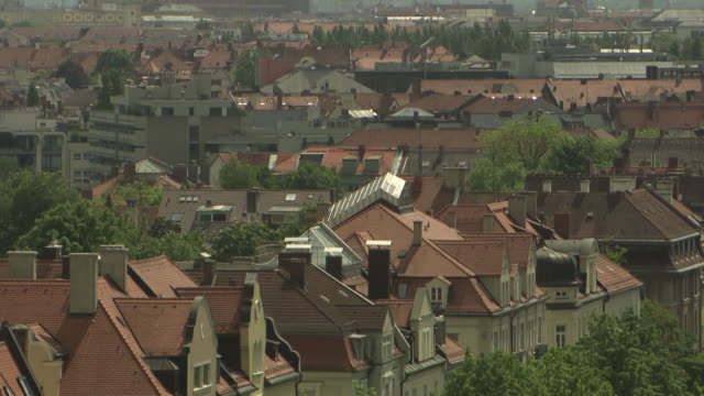 Munich from above, roofs of houses, trees, sunny
