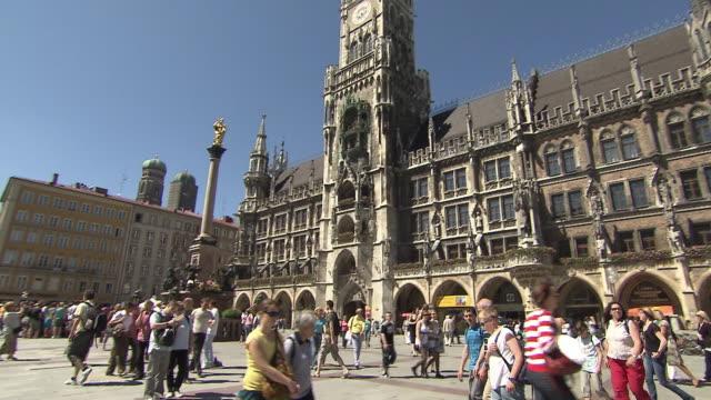 Munich - Marienplatz, city hall, tourists, pannin shot