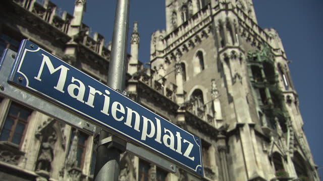 """Munich - Marienplatz, sign with """"Marienplatz"""""""