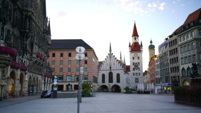 munich skyline with marienplatz town hall - square stock videos & royalty-free footage