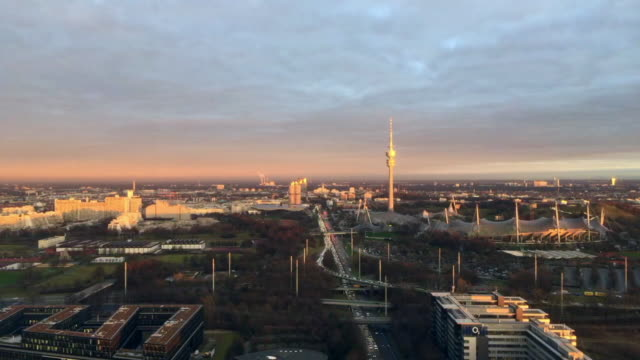 Munich. View from above. Timelapse. City. Germany. Aerial view.