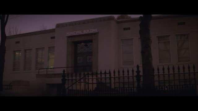 ms, municipal building at sunset, madison county, north carolina, usa - western script stock videos & royalty-free footage