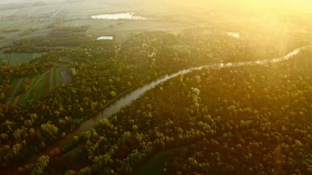 aerial mur river at sunrise - air vehicle stock videos & royalty-free footage