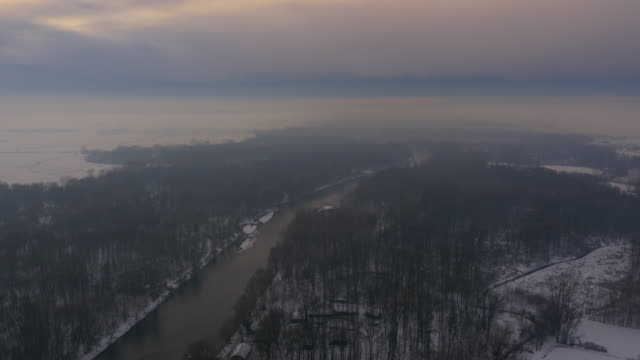 aerial mur river in bad weather - slovenia stock videos & royalty-free footage