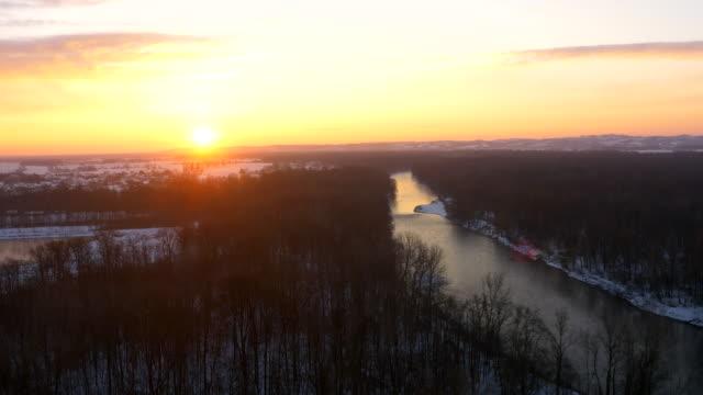 aerial mur river in the winter - prekmurje stock videos & royalty-free footage