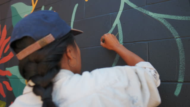 mural artist at work - mural stock videos & royalty-free footage