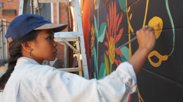 mural artist at work - painter artist stock videos and b-roll footage