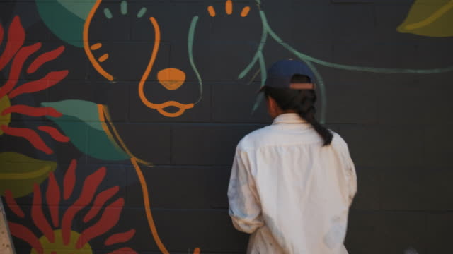 mural artist at work - man made object stock videos & royalty-free footage