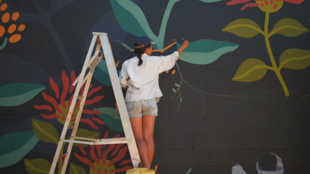 mural artist at work - toronto stock videos & royalty-free footage