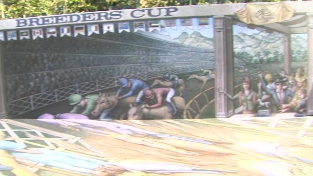 vídeos de stock e filmes b-roll de mural at breeders' cup world championships press conference on in los angeles ca - bo derek