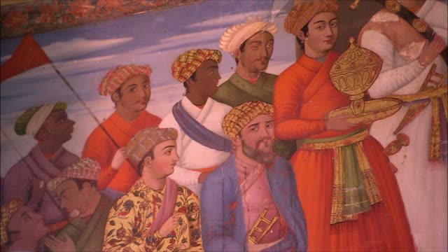 cu tu mural at chehel sotoun pavilion, isfahan, iran - headdress stock videos & royalty-free footage