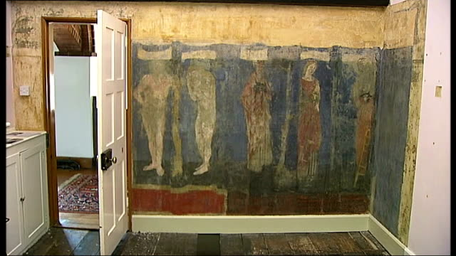 mural by william morris discovered at his former home england london bexleyheath ext red house mural on wall wide shot mural on room wall tessa wild... - biblical event stock videos & royalty-free footage
