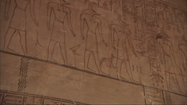 a mural depicts egyptian figures and hieroglyphics. - hieroglyph stock videos & royalty-free footage