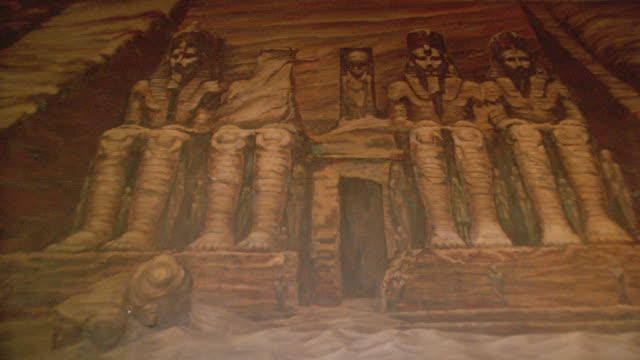 a mural depicts four seated pharaohs in hollywood's egyptian theater. - pharaoh stock videos & royalty-free footage