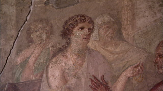a mural depicts mythological creatures and the trades of pompeii. available in hd. - mythology stock videos & royalty-free footage
