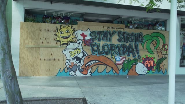a mural drawn on a closed and boarded up storefront that depicts the university of miami mascot and the words stay strong florida spray painted on it - unemployment covid stock videos & royalty-free footage