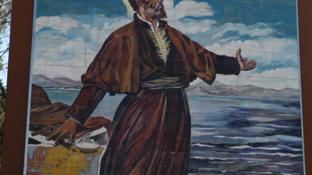 mural in front of the castle of saint francis xavier castle of xavier on which the saint francisco de xavier was born on 741506 francis xavier was a... - christian ender stock-videos und b-roll-filmmaterial
