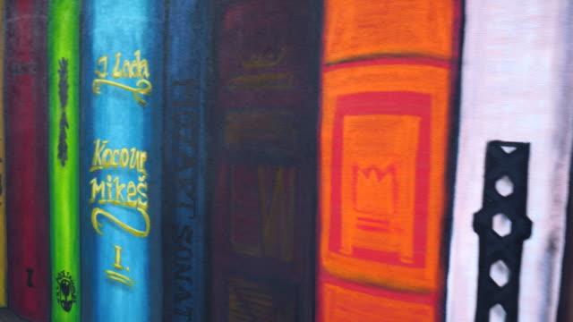 mural in krasna lipa village - western script stock videos & royalty-free footage