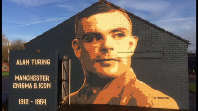 mural of alan turing mathematician and code breaker on wall in manchester - mathematician stock videos & royalty-free footage