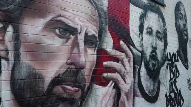 mural of england football team manager gareth southgate and players harry kane, and raheem sterling at the vinegar yard, london on july 14, 2021 in... - england stock videos & royalty-free footage