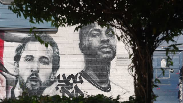 mural of england football team manager gareth southgate and players harry kane, and raheem sterling at the vinegar yard, london on july 14, 2021 in... - slow motion stock videos & royalty-free footage