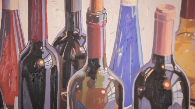 mural of wine bottles in wine bar - wine bar stock videos & royalty-free footage