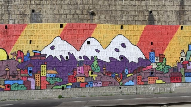 mural on a wall in la paz, bolivia. - la paz bolivia stock videos & royalty-free footage