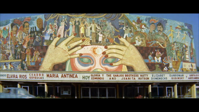 ms mural over marquee on theater building of university / mexico - theater marquee commercial sign stock videos & royalty-free footage