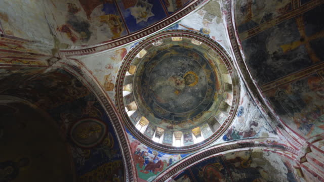mural paintings in bagrati cathedral - dome stock videos & royalty-free footage