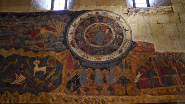 mural paintings into svetitsjoveli cathedral in mtskheta city - circa 4th century stock videos & royalty-free footage