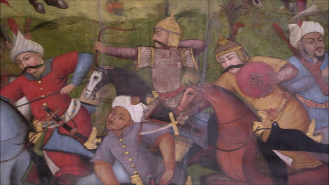 cu pan mural representing battle at chehel sotoun pavilion, isfahan, iran - 17th century stock videos & royalty-free footage
