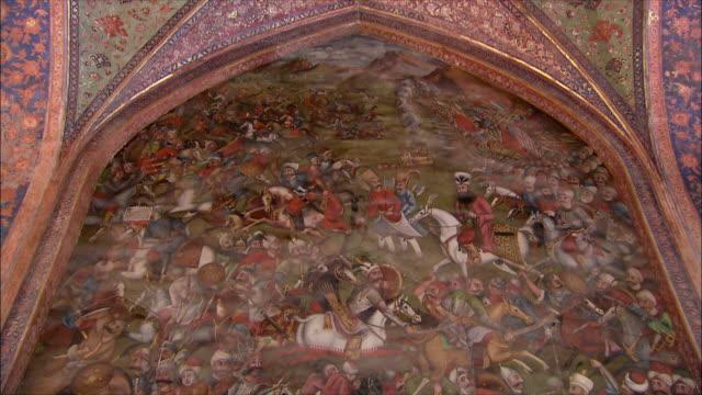 MS TD Mural representing battle at Chehel Sotoun pavilion, Isfahan, Iran