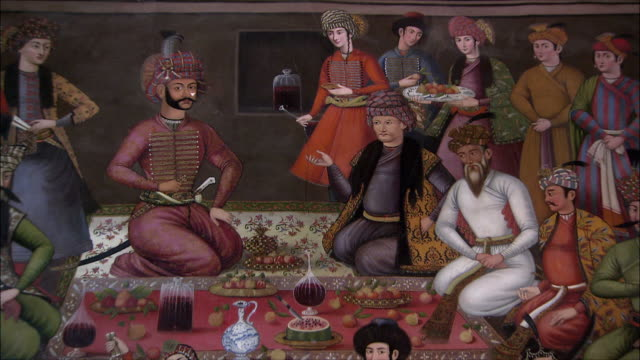 cu zo ms mural representing group of people and shah abbas ii celebrating at chehel sotoun pavilion, isfahan, iran - iran stock videos and b-roll footage