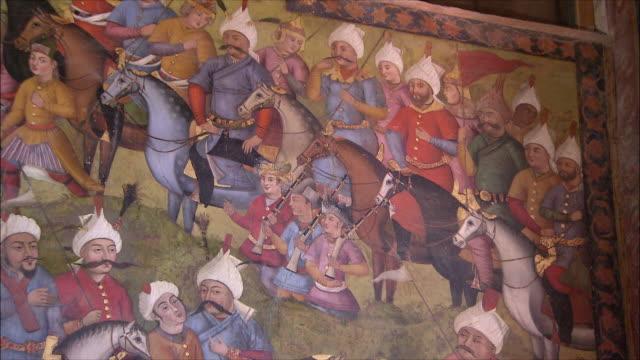 cu zi mural representing warriors at chehel sotoun pavilion, isfahan, iran - 17th century stock videos & royalty-free footage