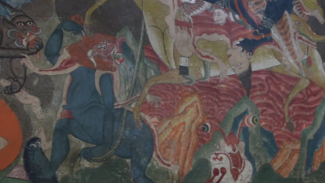 Murals and paintings on a wall inside Thiksay Monastery, Ladakh, India