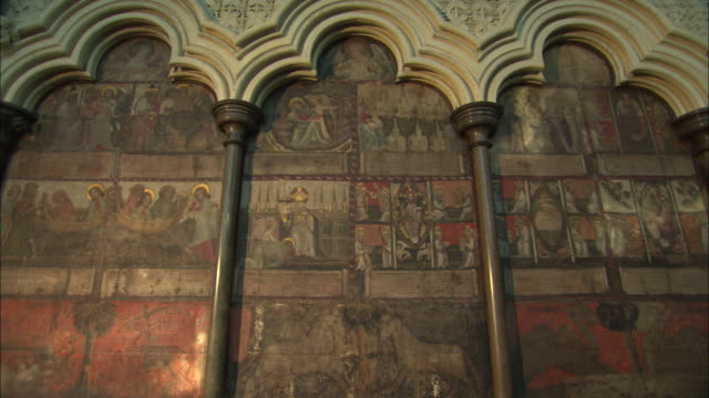 Murals inside the Chapter House of Westminster Abbey in London, UK